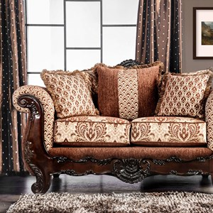 Traditional Love Seat with Ornate Wood Trim