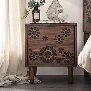 Transitional 2-Drawer Nightstand with Felt-Lined Top Drawer
