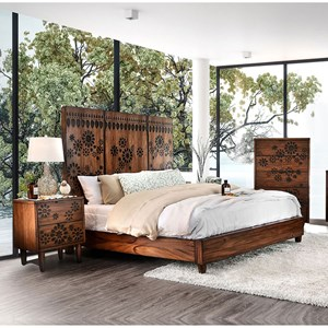 Transitional Queen Panel Bed with Dotted Burned Wood Headboard