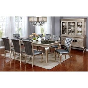 Transitional Dining Table with Leaf and Glass Top