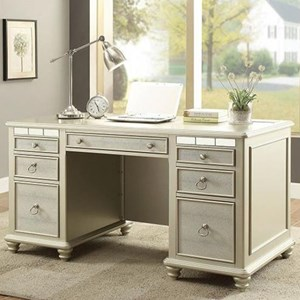 Glam Silver Desk with AC and USB Chargers