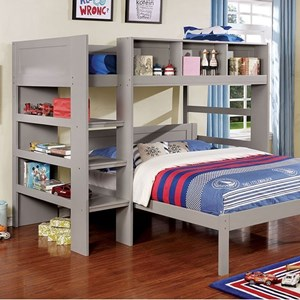 Twin Loft Bed with Shelving