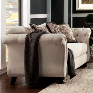 Transitional Love Seat with Flare Tapered Arms