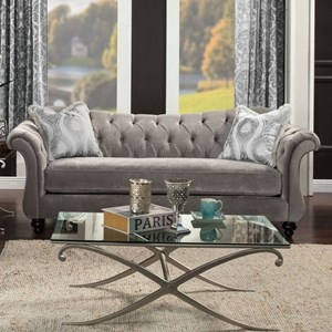 Traditional Sofa with Flare Tapered Arms