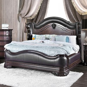Traditional European-Inspired Queen Wing Back Bed with Faux Leather Upholstery