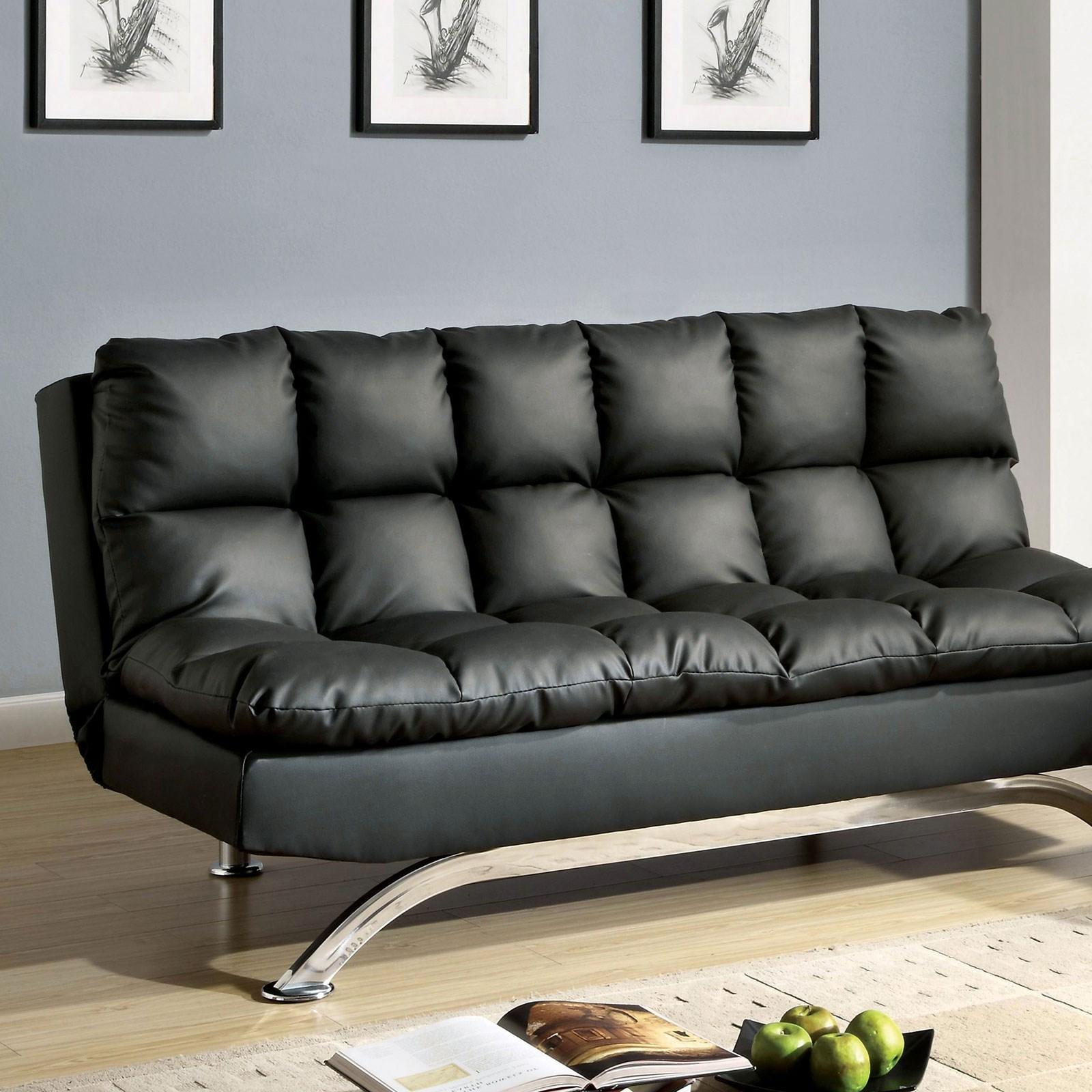 Aristo Leatherette Futon Sofa at Household Furniture