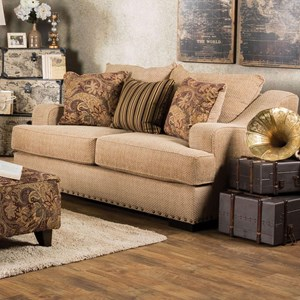 Transitional Love Seat with Gently Sloped Arms