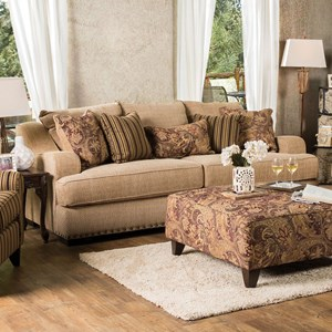 Transitional Sofa with Gently Sloped Arms