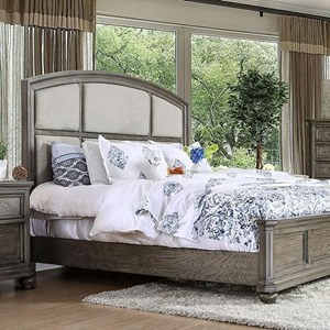 Transitional Queen Bed with Upholstered Paneled Headboard