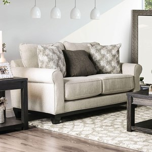 Transitional Love Seat with Oversized Padded Cushions