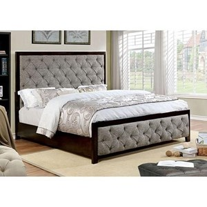 Transitional California King Upholstered Bed with Tufting