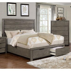 Vintage Queen Size Bed with Plank Headboard and 2 Footboard Storage Drawers