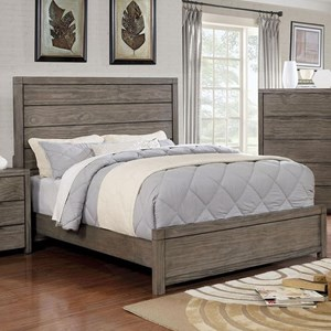 Vintage Full Size Bed with Plank Headboard