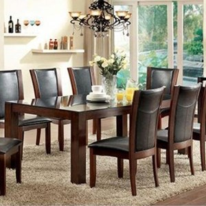 Rectangular Wood and Glass Dining Table