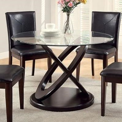 Atenna I Glass Top Round Dining Table at Household Furniture