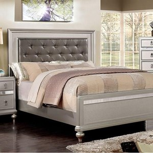 Transitional Queen Bed with Button Tufting