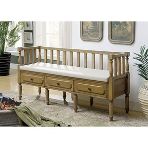 Transitional Bench with 3 Drawers