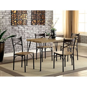 5 Piece Wood and Metal Cafe Dining Table Set