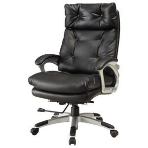 Contemporary Office Chair with Button Tufting and Padded Armrests