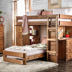 Rough Cut Solid Pine Twin/Twin Loft Bed