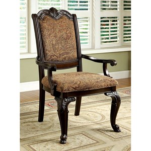 Set of 2 traditional Arm Chairs with Upholstered Back