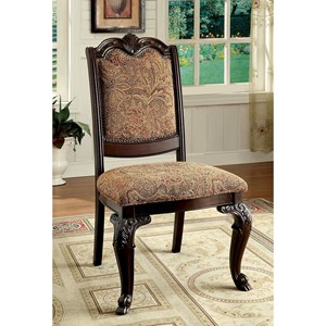 Set of  Traditional 2 Side Chairs with Upholstered Back
