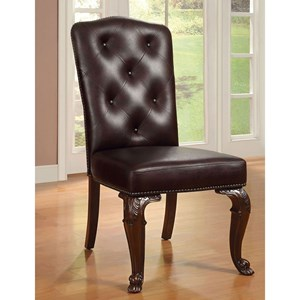Set of 2 Leatherette Upholstered Side Chairs with Tufted Back