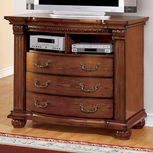Traditional Media Chest with Open Shelves