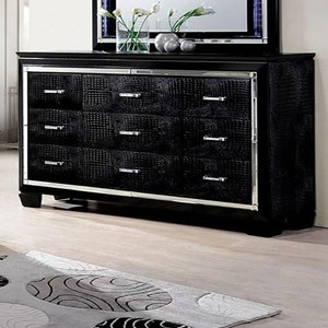 Glam Faux Crocodile 9 Drawer Dresser with Felt-Lined Top Drawers