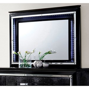 Glam Mirror with Faux Crocodile and Metal Trim