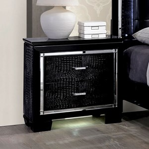 Glam Faux Crocodile Nightstand with Mirror Trim and Felt-Lined Drawer