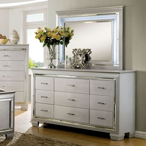 Glam Faux Crocodile 9 Drawer Dresser and Mirror with Felt-Lined Top Drawers