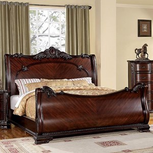 Traditional Queen Sleigh Bed with Carved Accents