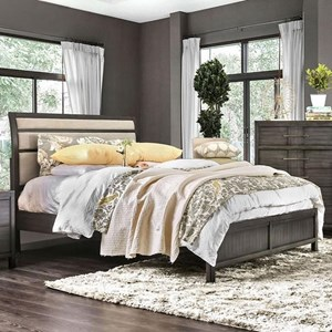 Transitional California King Size Bed with Upholstered Headboard