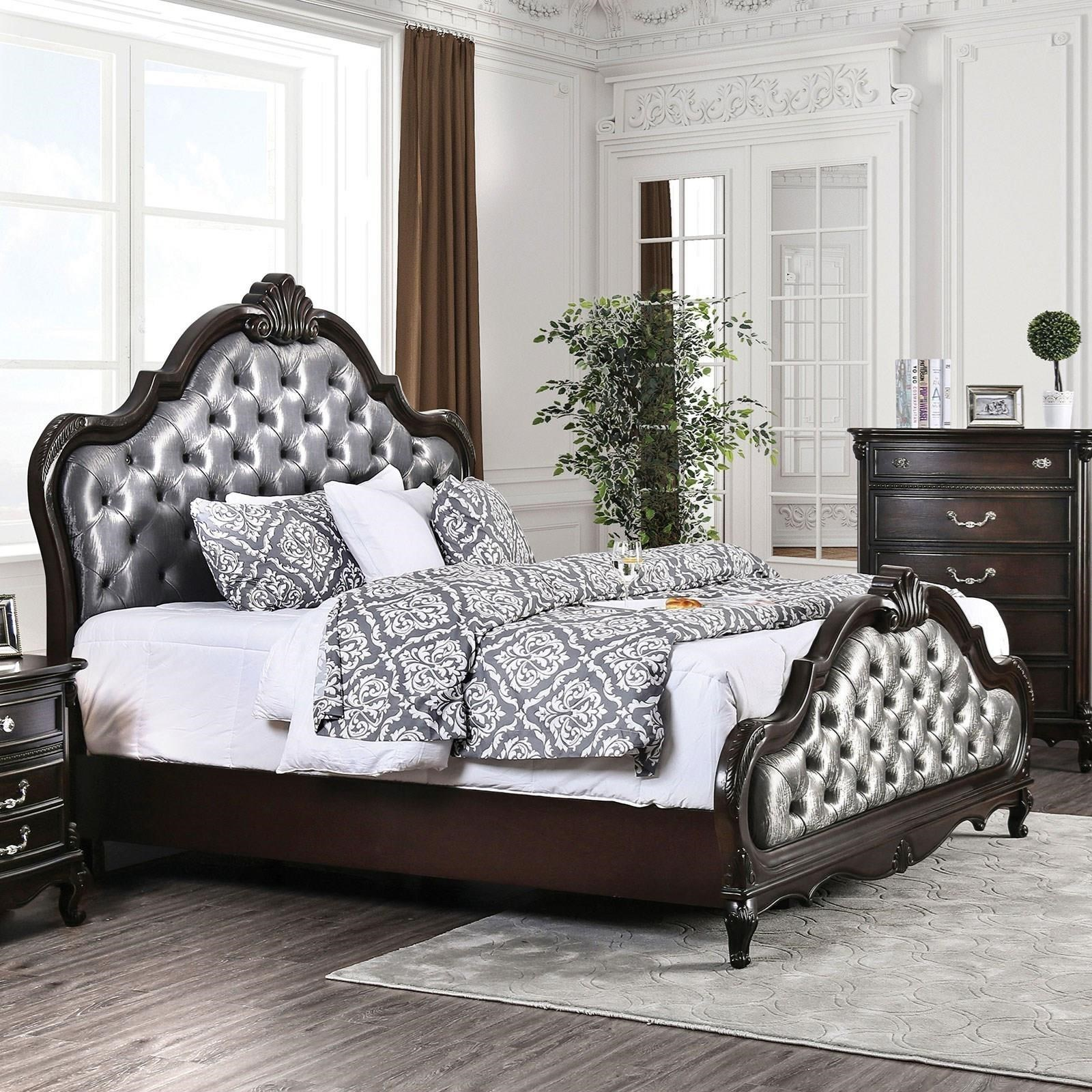 Bethesda Queen Upholstered Bed  by Furniture of America at Nassau Furniture and Mattress