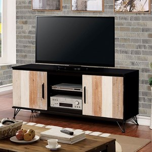 "Transitional 60"" TV Stand with 4 Shelves"