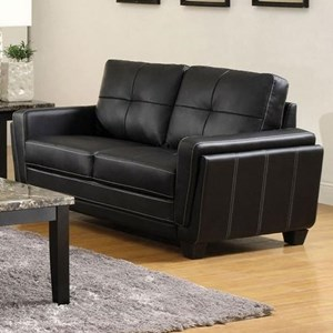 Contemporary Faux Leather Tufted Loveseat