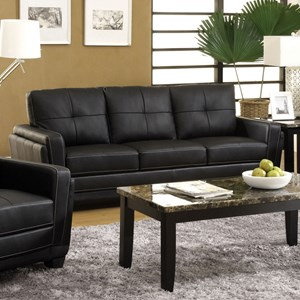 Contemporary Faux Leather Tufted Sofa