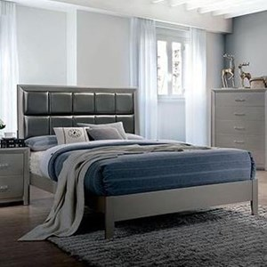 Contemporary California King Bed with Upholstered Headboard