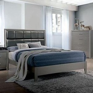Contemporary King Bed with Upholstered Headboard