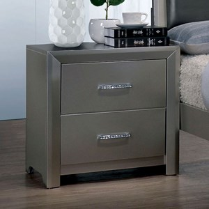 Contemporary Nightstand with Felt Lined Top Drawer