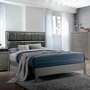 Contemporary Queen Bed with Upholstered Headboard