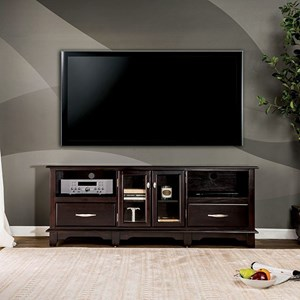 Transitional TV Console with 4 Shelves and 2 Drawers