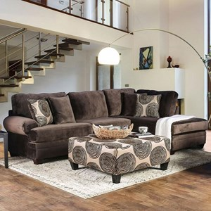 Rolled Arm Sectional with Chaise