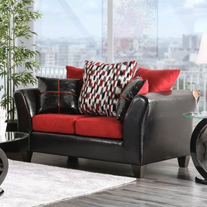 Contemporary Love Seat with Flare Tapered Arms