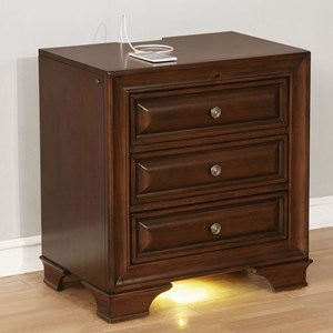 Transitional 3 Drawer Nightstand