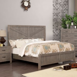 Transitional Queen Panel Bed with Prominent Plank Style Headboard