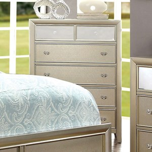Glam Six Drawer Chest with Mirror Accenting