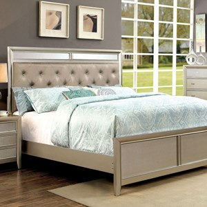Glam Upholstered California King Bed with Tufting and Mirror Accents