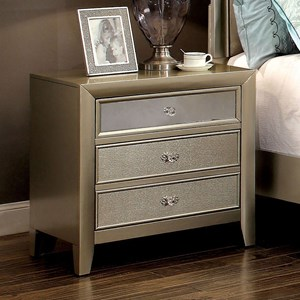 Glam Three Drawer Nightstand with Mirror Accenting